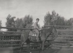 """Bob with """"Barber"""" in 1969 a two year old thoroughbred"""